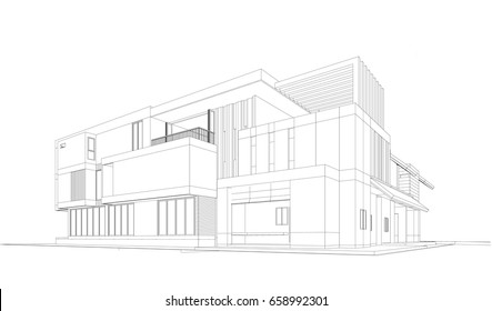 3d wireframe of building. sketch design. Architecture background. vector