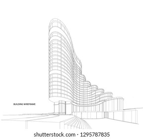 3d wireframe of building. sketch design.Vector - Vector