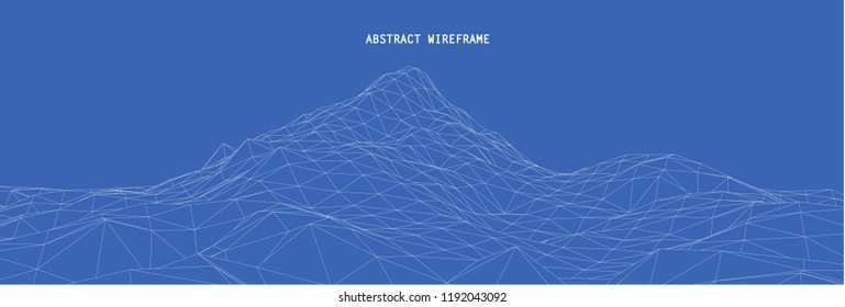 3D wireframe of contour swirl. Abstract wireframe background. vector