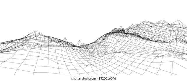 3D wireframe of contour swirl. Abstract wireframe background. Black and white wave.