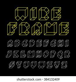 3d wireframe font, alphabet. Vector illustration.