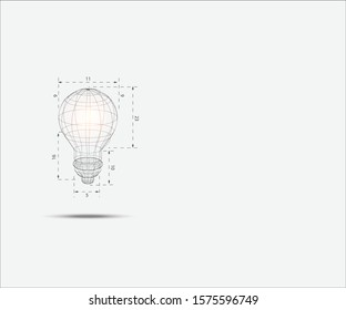 3D wireframe lightbulb represent technology concept and innovation. Technology Background. Vector Illustration.