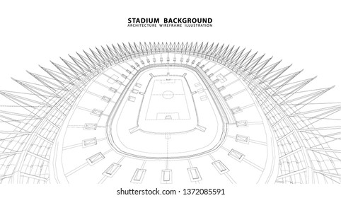 3D wireframe of stadium or sport arena.
