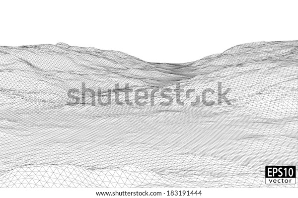 3d Wireframe Terrain Eps10 Vector Stock Vector (Royalty Free