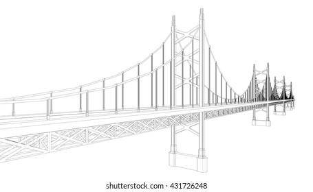 3d wireframeof bridge