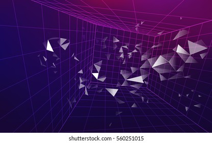3D wirframe grid in dimension, futuristic backdrop, abstract technology background