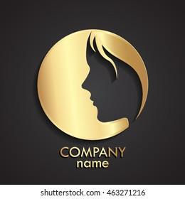 3d woman face negative shape gold logo / vector illustration