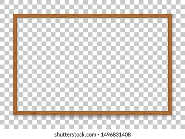 3D wood frame. Picture frame design isolated on background. Realistic wooden rectangular natural frame with shadow. Background for presentations, restaurant menu, chalkboard school. Clipart vector