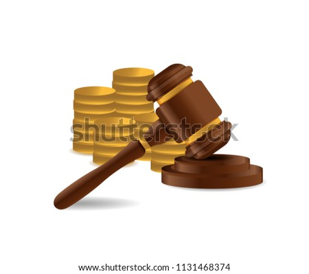 3D Wooden gavel. Judge, Law, Auction concept. illustration over a white background