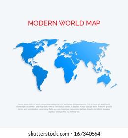 3D world map. Modern flat style. Vector.