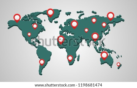 3 d world map pins gp snavigator travel stock vector royalty free