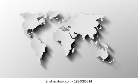 3D World Map With Shadow. EPS10 Vector