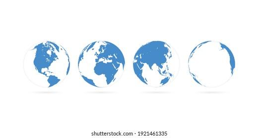 3D World Maps Primary Blue Color    4 Views