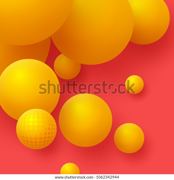 3d yellow balls on the red background. Abstract floating spheres background. Vector illustration.