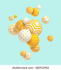 3D yellow geometric balls
