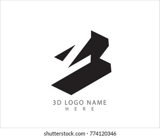 3D Z letter vector with white background