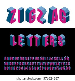 3D zig zag isometric blue and red alphabet, grouped and editable
