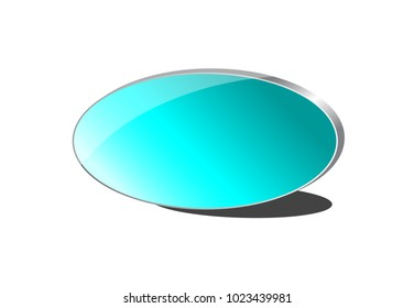 3-Dimensional Aqua Gradient Oval with Silver or Chrome Frame