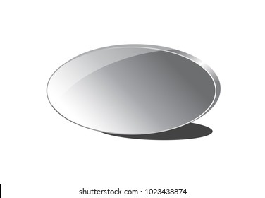3-Dimensional Gray Gradient Oval with Silver or Chrome Frame