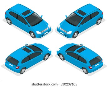 3-door Hatchback car isolated.  Vector isometric icons set. Template on white background. The ability to easily change the color. Urban transport.