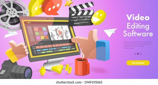 3DVector Conceptual Illustration of Video Editing Softwar.
