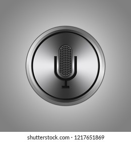 3D-vector graphics. Aluminum button isolated on a gray background.