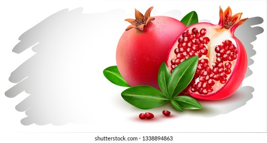 3d.Vector pomegranate.Realistic image of pomegranate, purified fruit. Picture for sale of fruit. Label, wrapper, poster, leaflet.Vector realistic illustration.