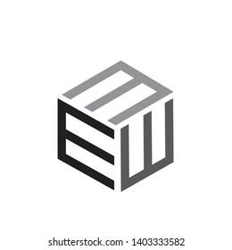 3e, eee, ew, awm, mwm, mmm logo with rectangular concept