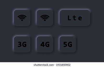 3G, 4G, 5G, LTE and wifi sign. Wireless connection button. Vector. Neumorphic UI UX dark user interface. Neumorphism