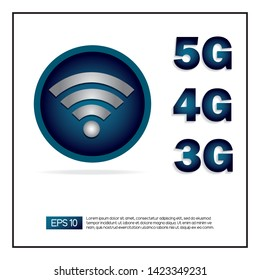 3G, 4G, 5G network wireless technology vector illustration. Wireless symbol on blue button icon with 3G, 4G, 5G word next to it. EPS 10 vector.