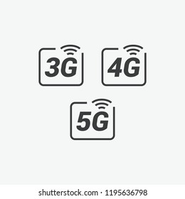 3G, 4G & 5G Vector Icons