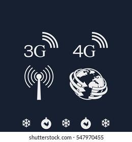 3G, 4G symbols. Mobile telecommunications icons. World globe sign.
