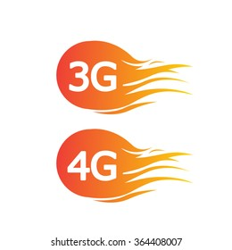 3G and  4G technology icon symbols