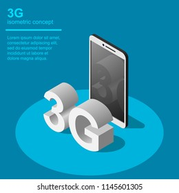 3G broadband cellular network technology vector illustration. Isometric concept includes smartphone and 3G symbol.