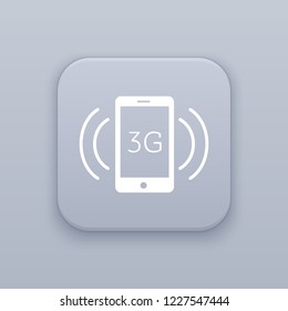 3G connection, gray vector button with white icon on gray background