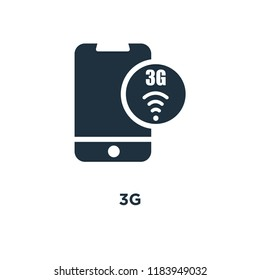 3g icon. Black filled vector illustration. 3g symbol on white background. Can be used in web and mobile.