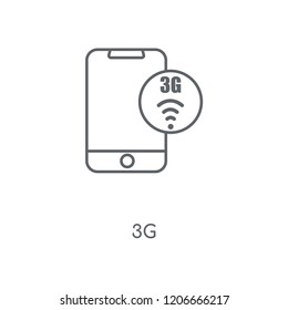 3g linear icon. 3g concept stroke symbol design. Thin graphic elements vector illustration, outline pattern on a white background, eps 10.