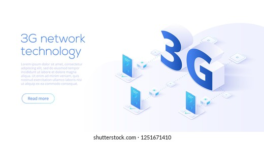 3g network technology in isometric vector illustration. Wireless mobile telecommunication service concept. Marketing website landing template. Smartphone internet speed connection background.
