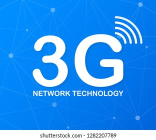 3g network technology. Wireless mobile telecommunication service concept. Marketing website landing template. Vector stock illustration.