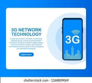 3G network wireless systems and internet. Communication network. Vector stock illustration.