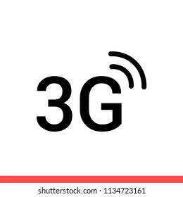 3G vector icon, connection symbol. Simple, flat design for web or mobile app