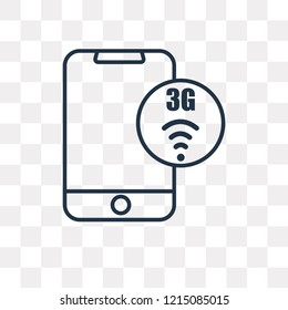 3g vector outline icon isolated on transparent background, high quality linear 3g transparency concept can be used web and mobile