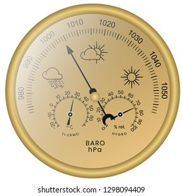 3-in-1 Barometer with Thermometer and Hygrometer colored illustration. Circular analog Barometer indicator vector. Barometer is a instrument used in to measure atmospheric pressure