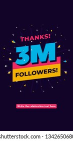 3m followers, one million followers social media post background template. Creative celebration typography design with confetti ornament for online website banner, poster, card.