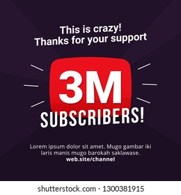 3M subscribers celebration background design. 3 million subscribe