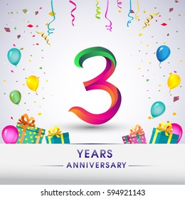 3rd Anniversary Celebration Design, with gift box, balloons and confetti, Colorful Vector template elements for your, three years birthday celebration party.
