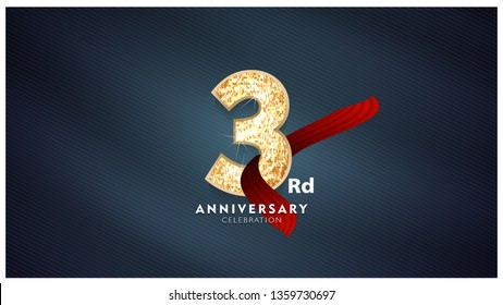 3rd Anniversary celebration - Golden numbers with red fabric background