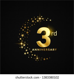 3rd Anniversary Celebration Logotype. Golden Elegant Vector Illustration with star glitter half circle, Isolated on Black Background for Celebration, Invitation, and Greeting card - Vector