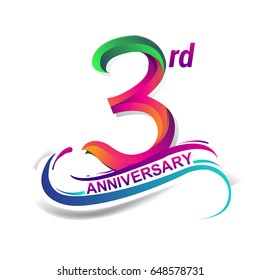 3rd anniversary celebration logotype green and red colored. three years birthday logo on white background.
