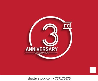 3rd anniversary celebration logotype with linked number in circle isolated on red background